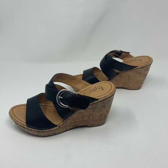BOC Born Concept Buckle Leather Wedge Sandals